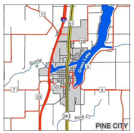 pine city map